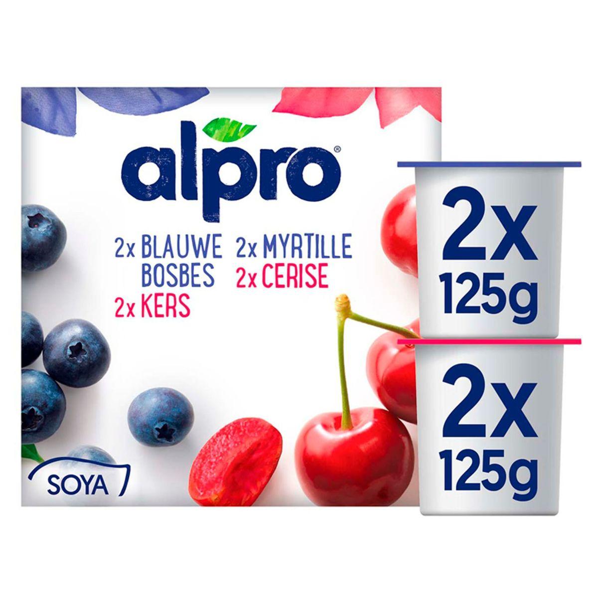 Alpro Myrtille / Cerise Alternative Végétale au Yaourt 4 x 125 g