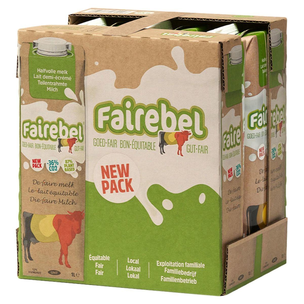Fairebel Lait Demi-Écrémé 6 x 1 L