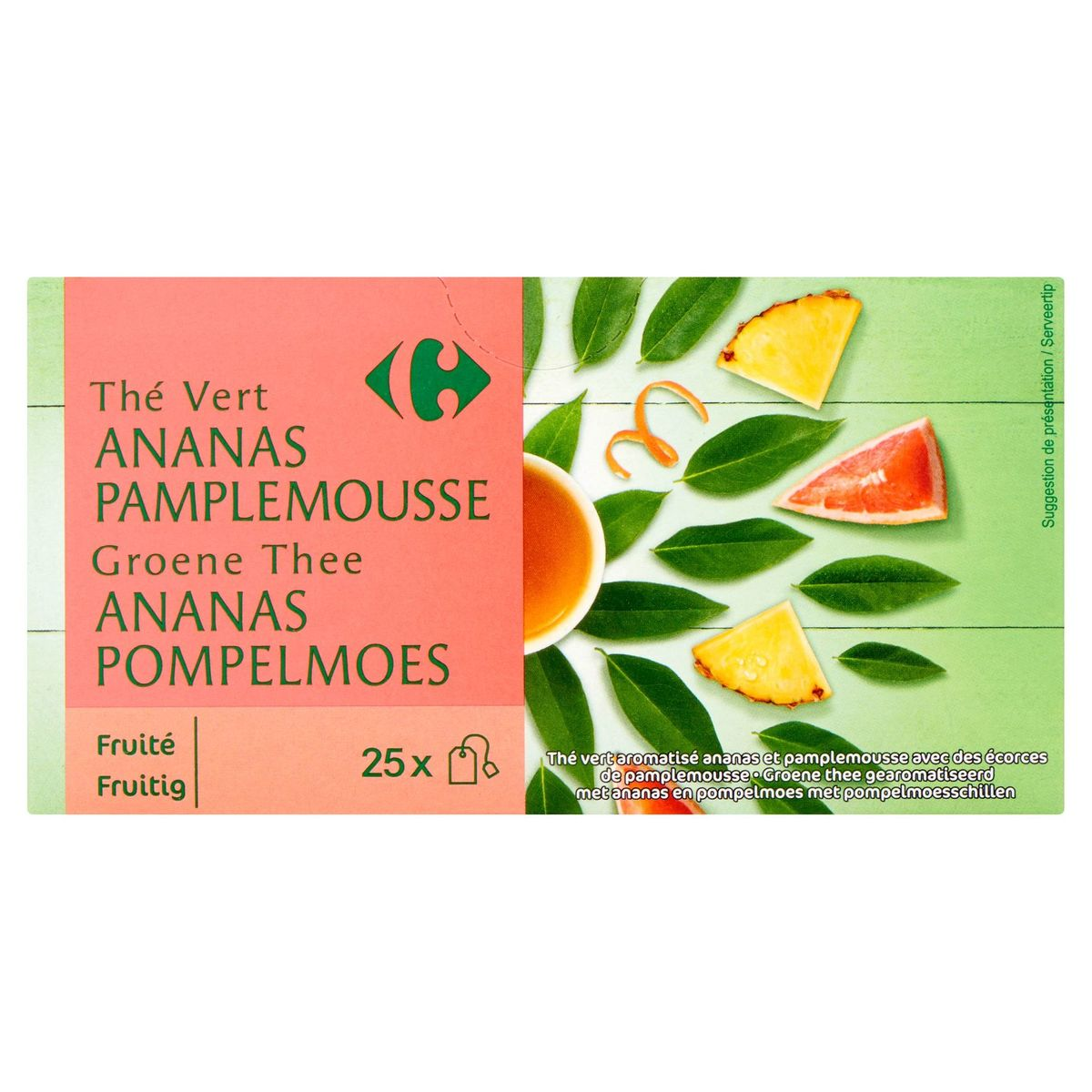 Carrefour Thé Vert Ananas Pamplemousse 25 x 2 g