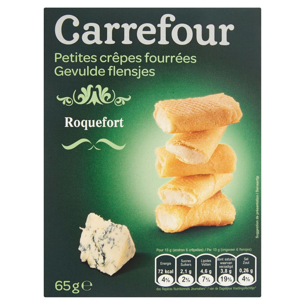 Carrefour Petites Crêpes Fourrées Roquefort 65 g
