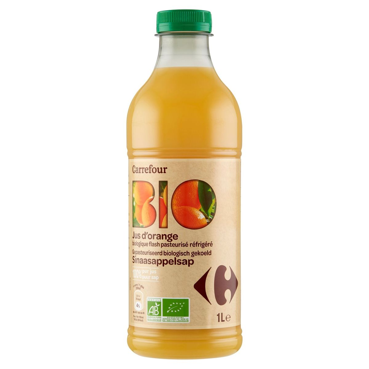 Carrefour Bio Jus d'Orange Biologique Flash Pasteurisé Réfrigéré 1 L