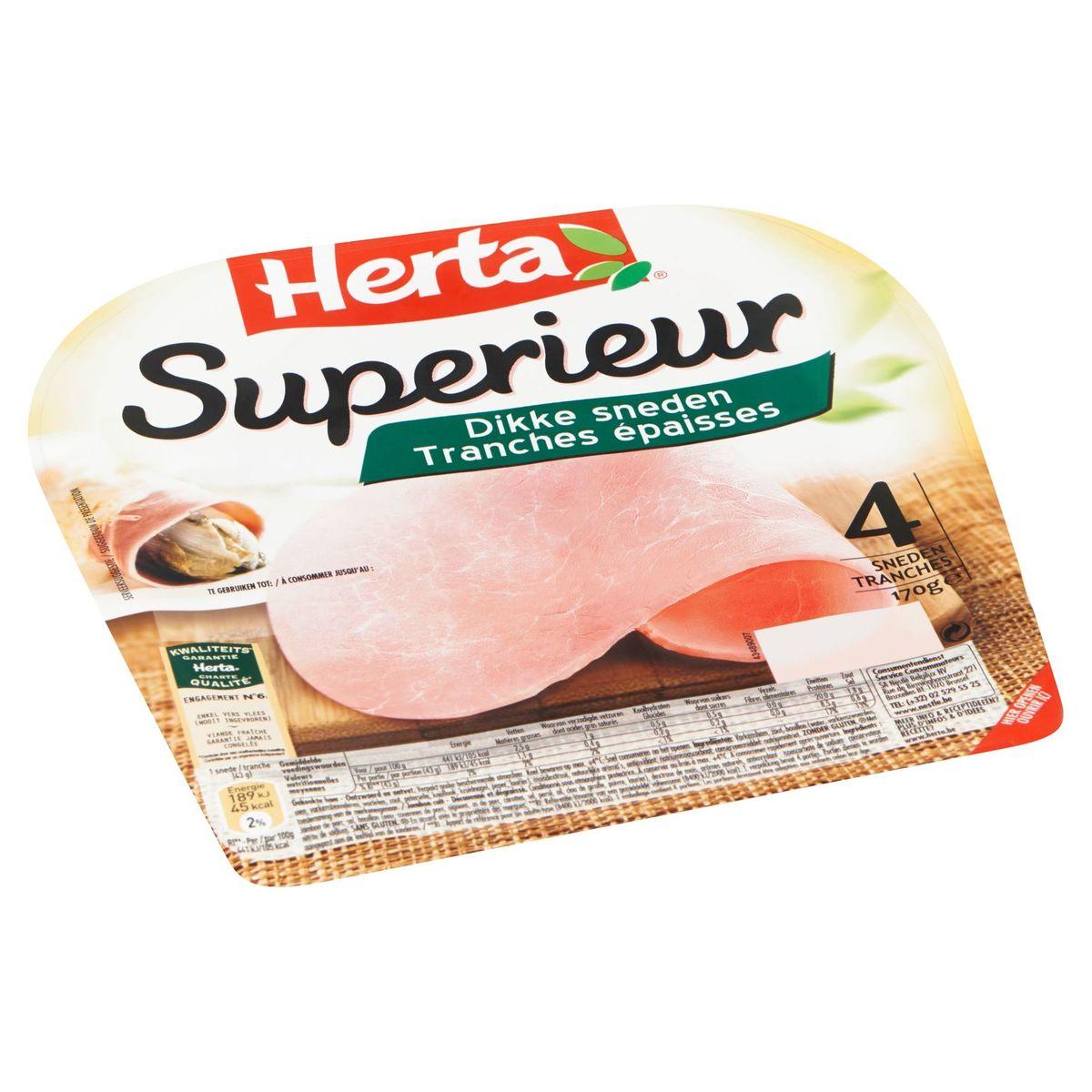 HERTA Jambon Superieur 4 Tranches Épaisses 170 g
