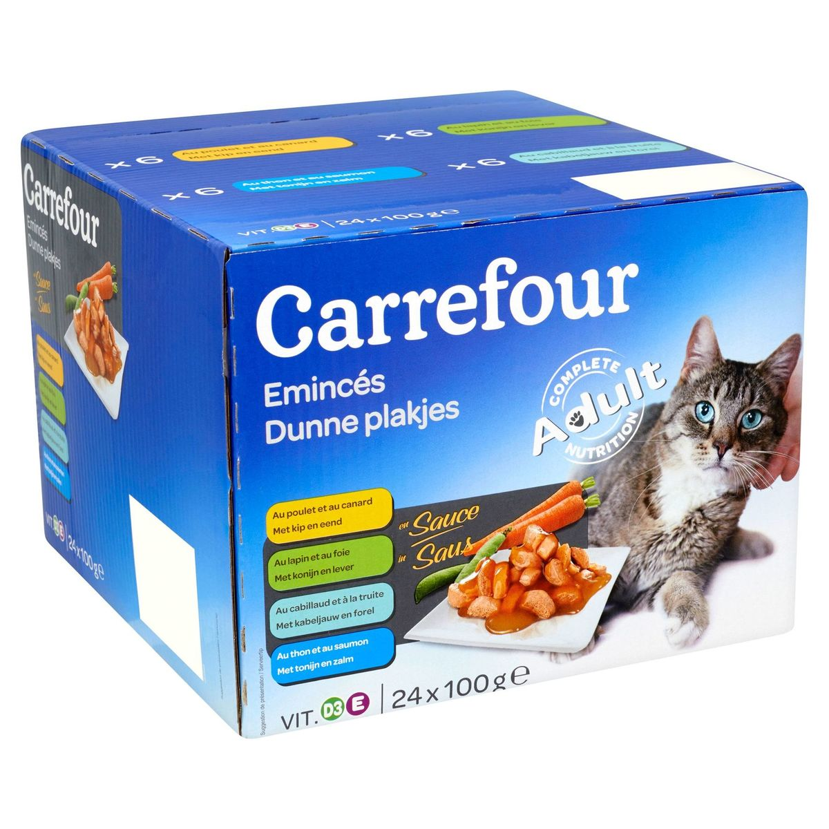 Carrefour Dunne Plakjes in Saus Adult 24 x 100 g