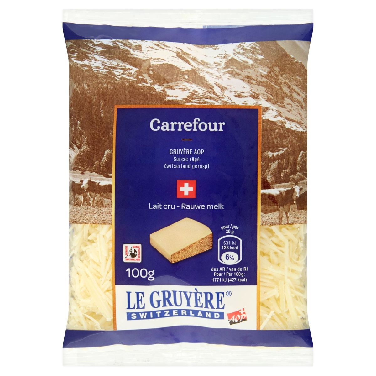 Carrefour Gruyère Suisse Râpé 100 g