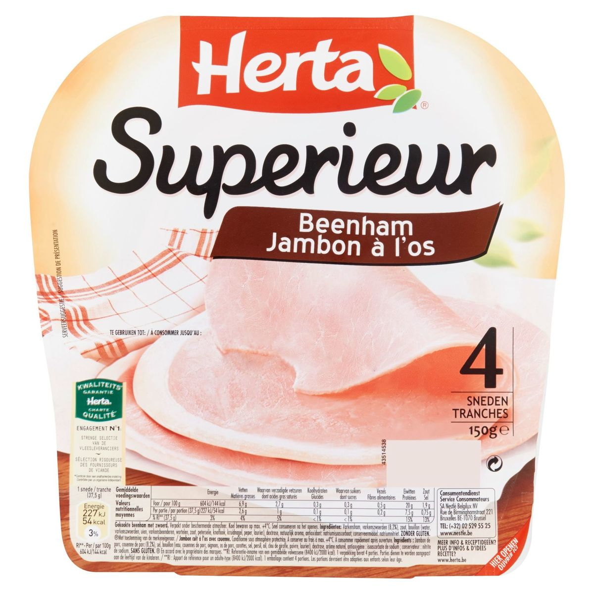 Herta Superieur Jambon à l'Os 4 Tranches 150 g
