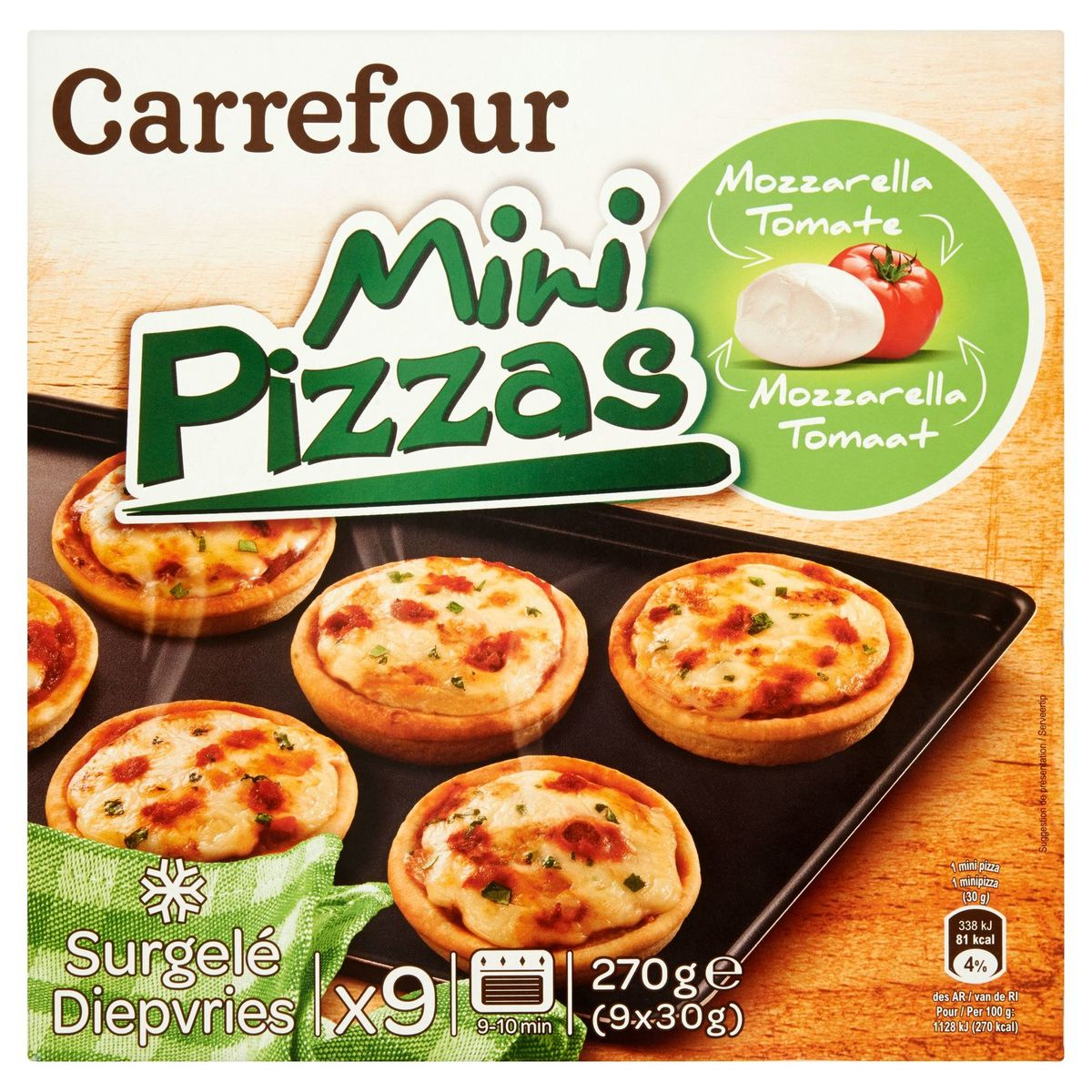 Carrefour Mini Pizzas Mozzarella Tomaat 9 x 30 g