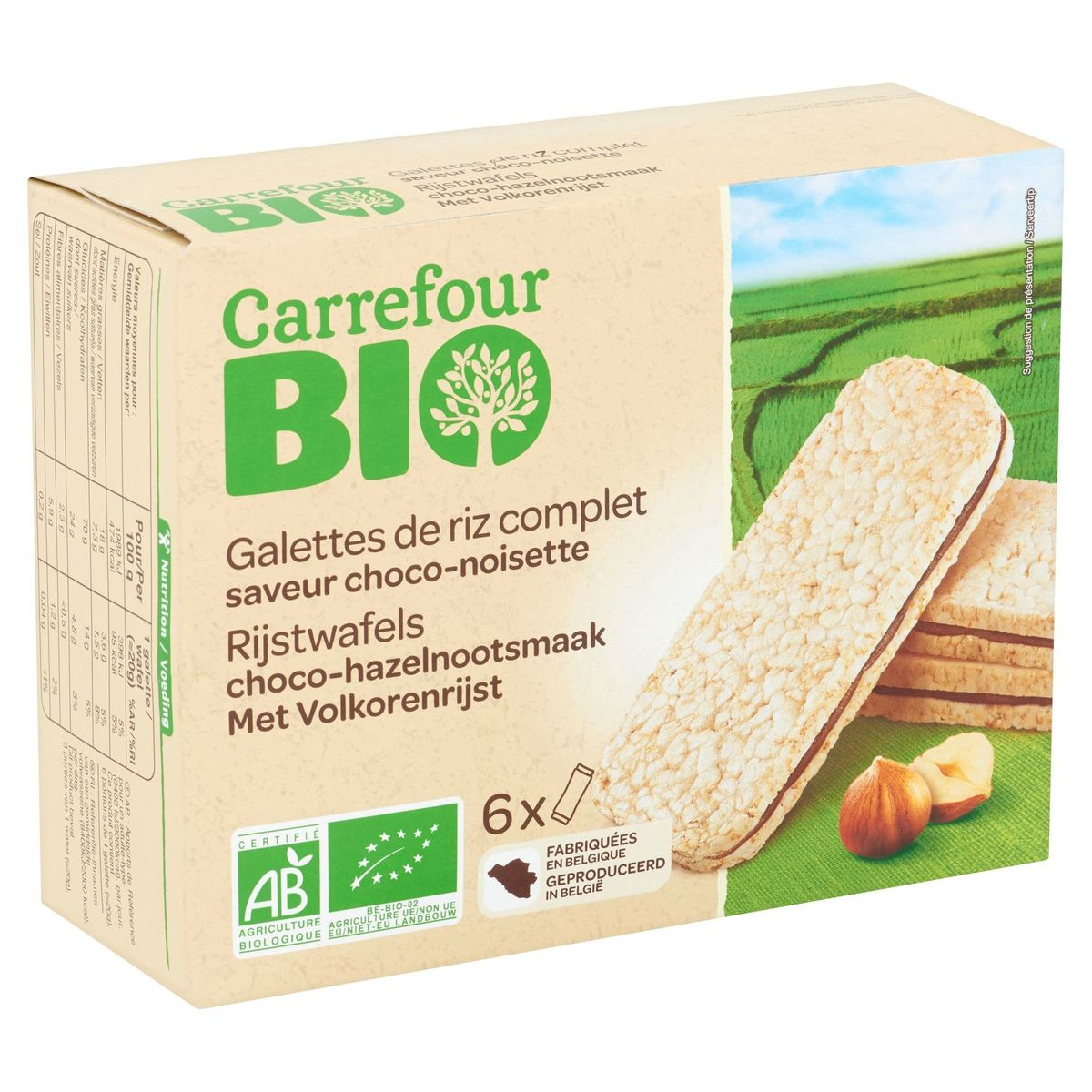 Carrefour Bio Rijstwafels Choco-Hazelnootsmaak 6 x 20 g