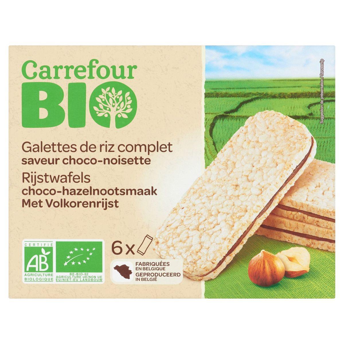 Carrefour Bio Galettes de Riz Complet Saveur Choco-Noisette 6 x 20 g