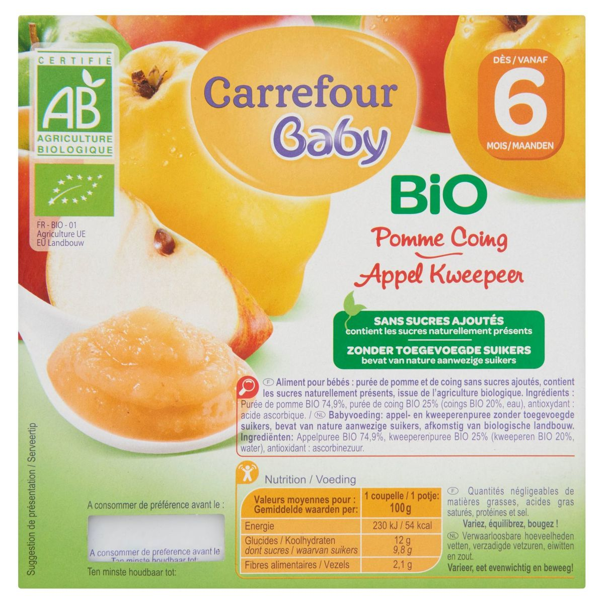 Carrefour Baby Bio Pomme Coing dès 6 Mois 4 x 100 g