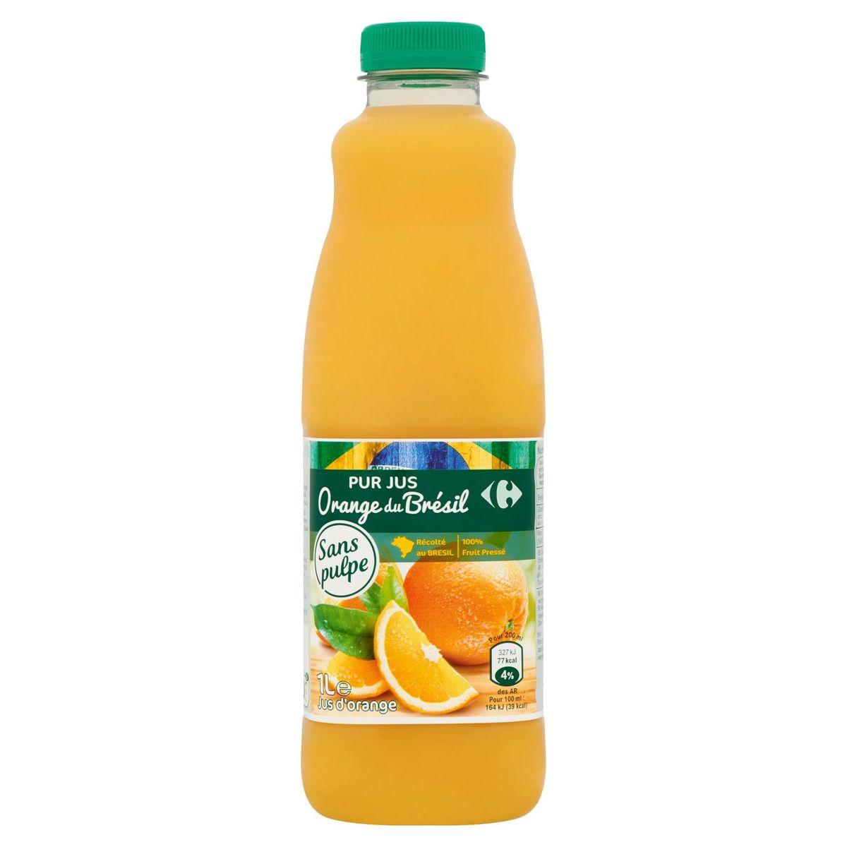 Carrefour Puur Sap Sinaasappel uit Brazilië 1 L
