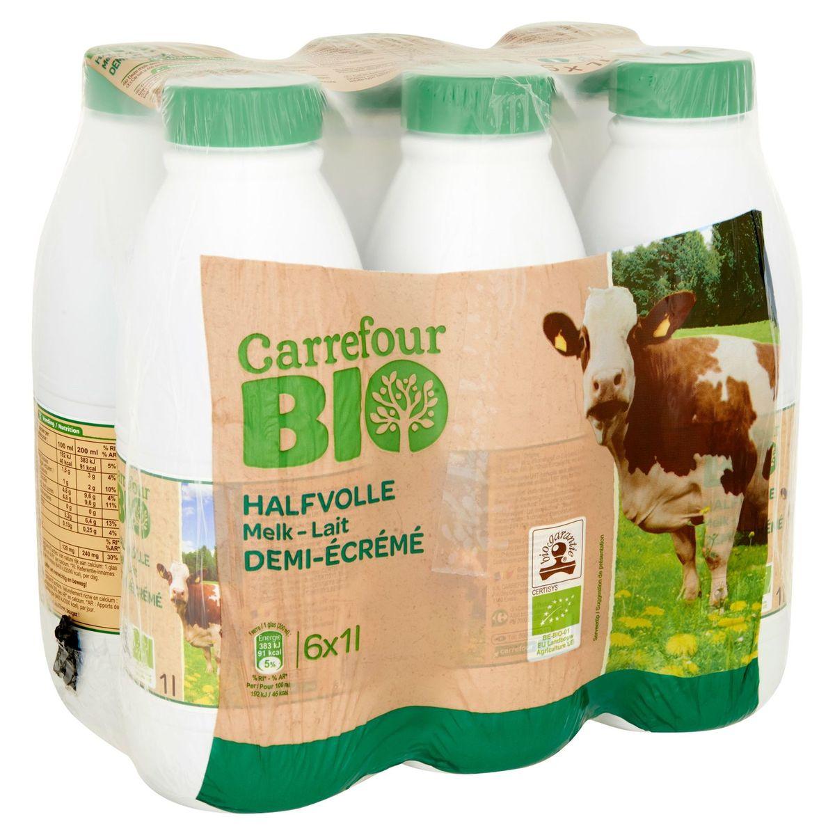 Carrefour Bio Lait Demi-Écrémé 6 x 1 L
