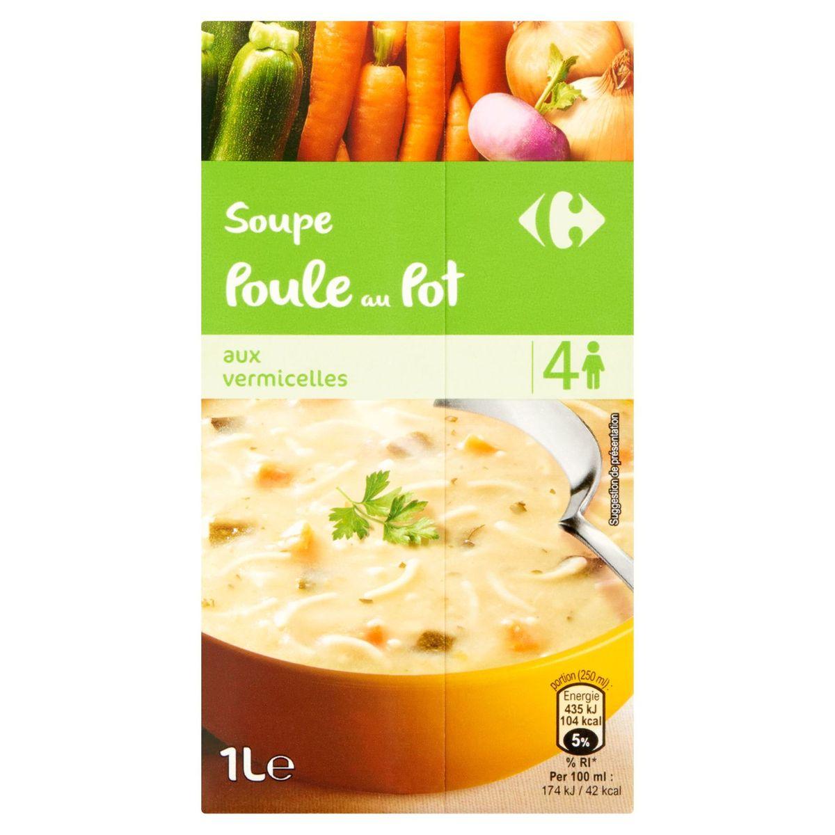 Carrefour Soep Kippensoep met Vermicelli 1 L