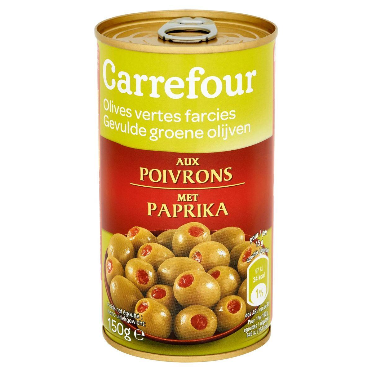 Carrefour Olives Vertes Farcies aux Poivrons 150 g