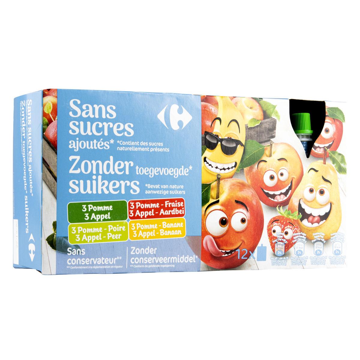 Carrefour Kids Gourdes aux Fruits 12 x 90 g