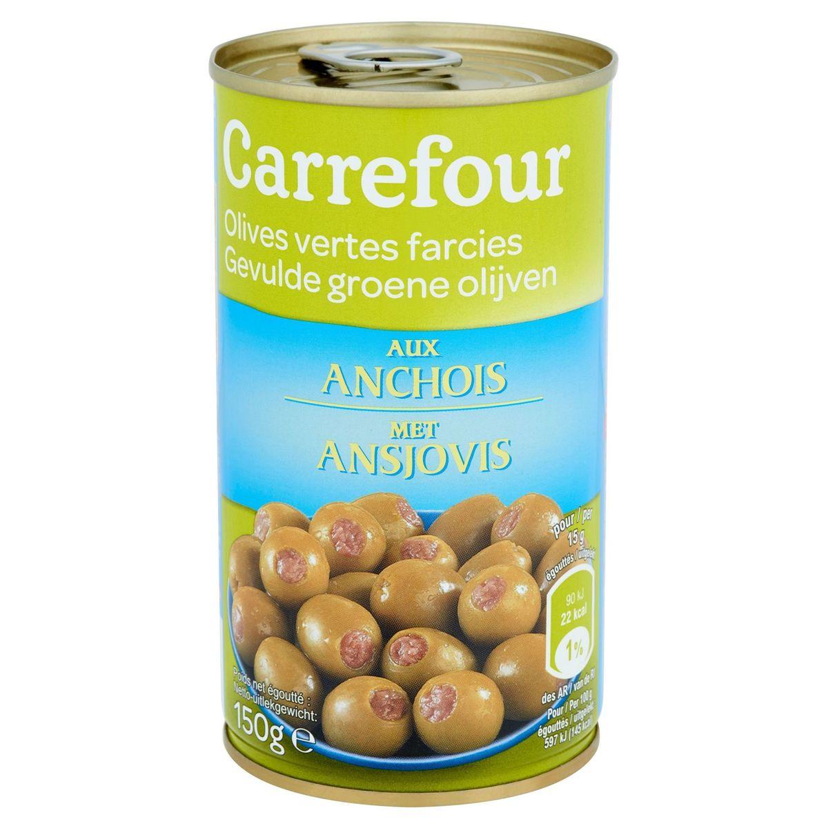 Carrefour Olives Vertes Farcies aux Anchois 150 g