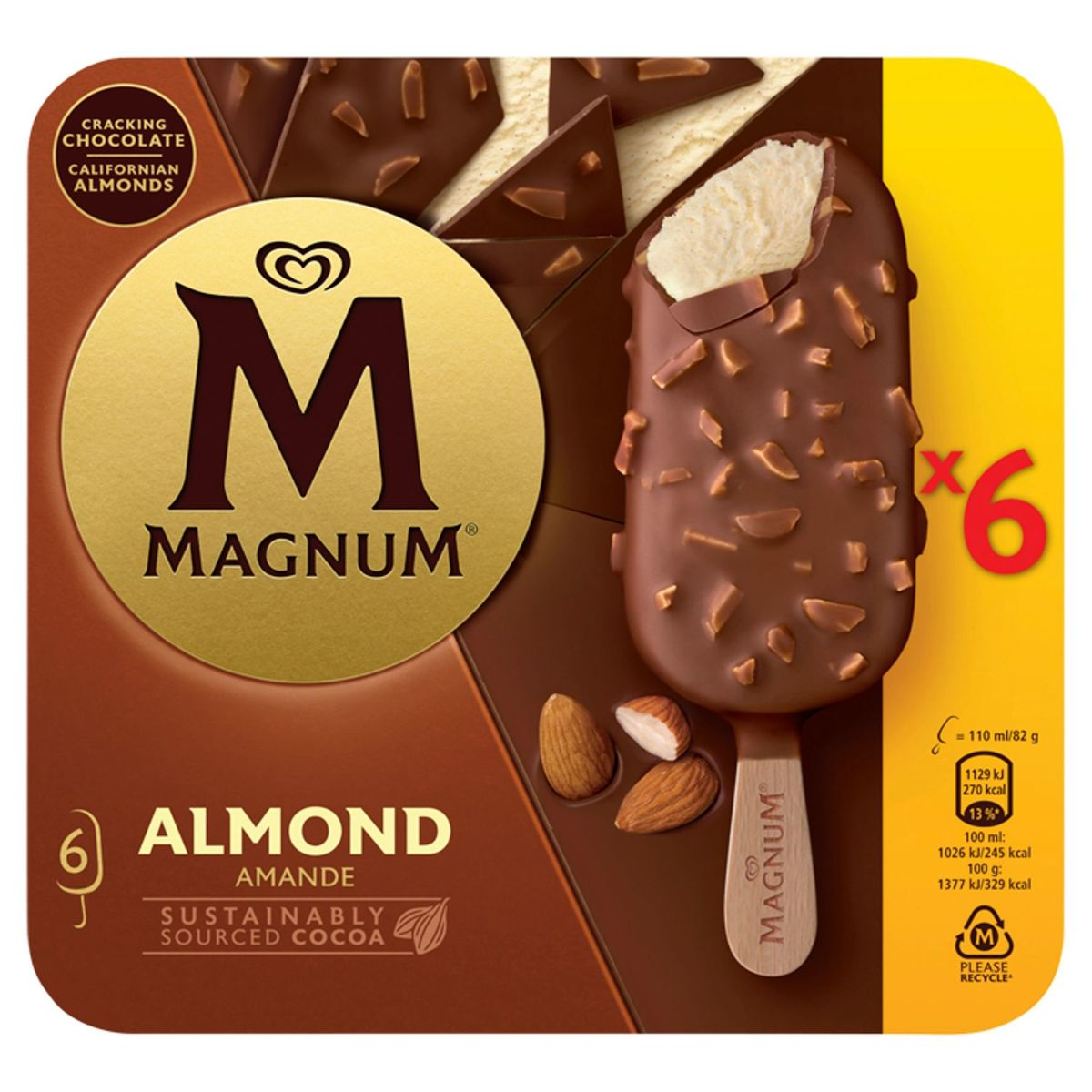 Magnum Ola Ijs Multipack Almond 6 x 110 ml