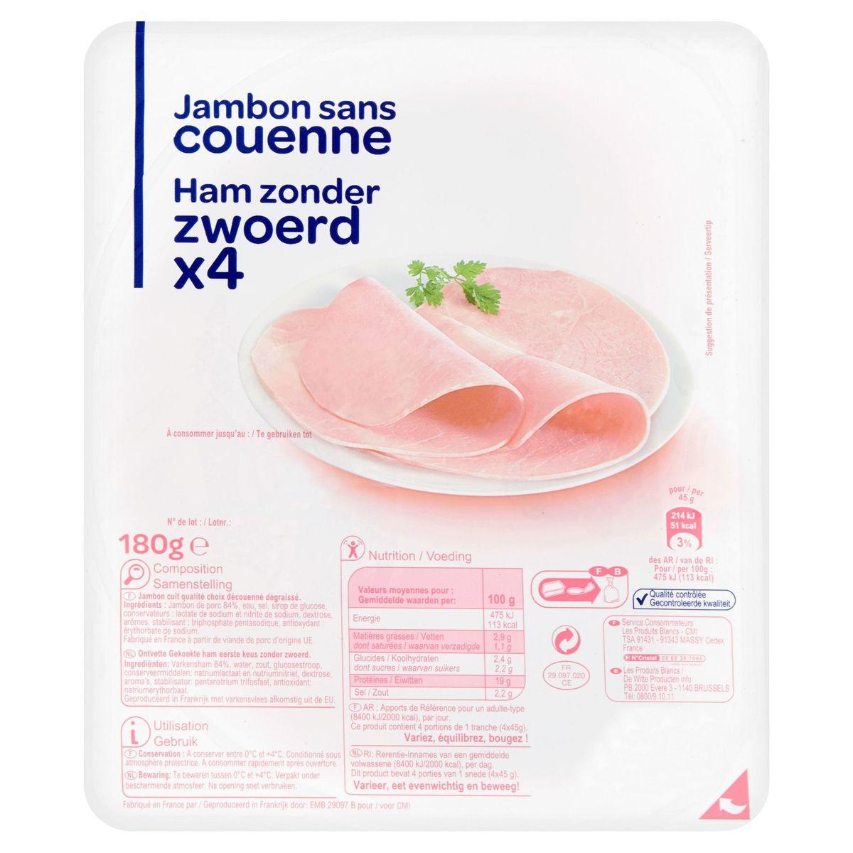 Jambon sans Couenne 4 Tranches 180 g