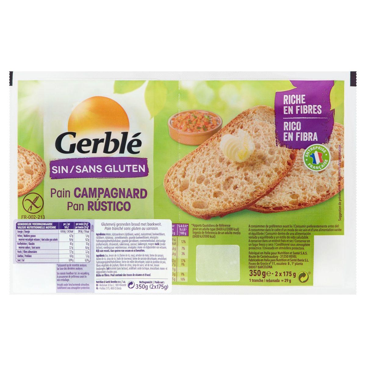 Gerblé Sans Gluten Pain Campagnard 2 x 175 g