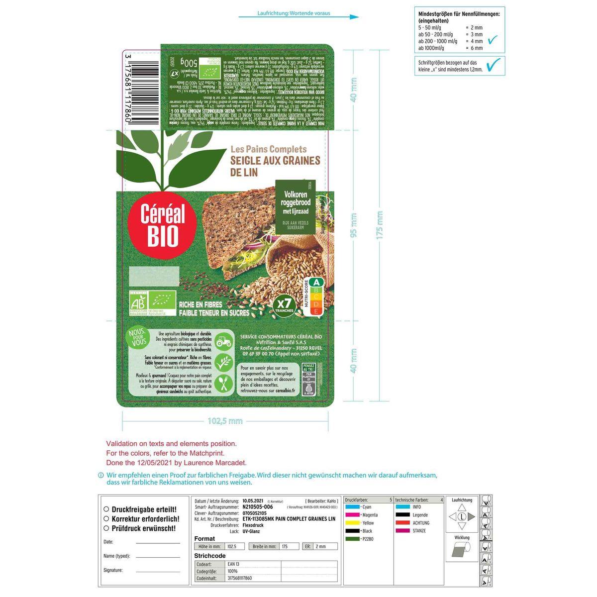 Céréal Bio Pain Complet de Seigle Flocons d'Avoine & Graines Lin 7 pc