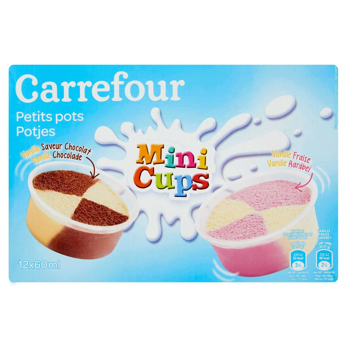 Carrefour Pots Vanille Saveur Chocolat Vanille Fraise 12 x 30.67 g