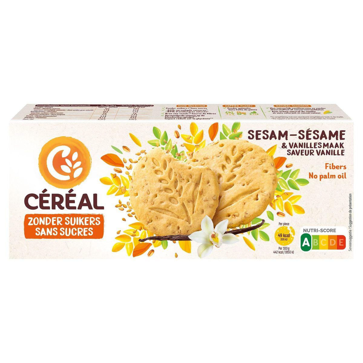Céréal Zonder Suikers Koekjes Sesam met Vanillesmaak 3 x 4 Stuks 132 g
