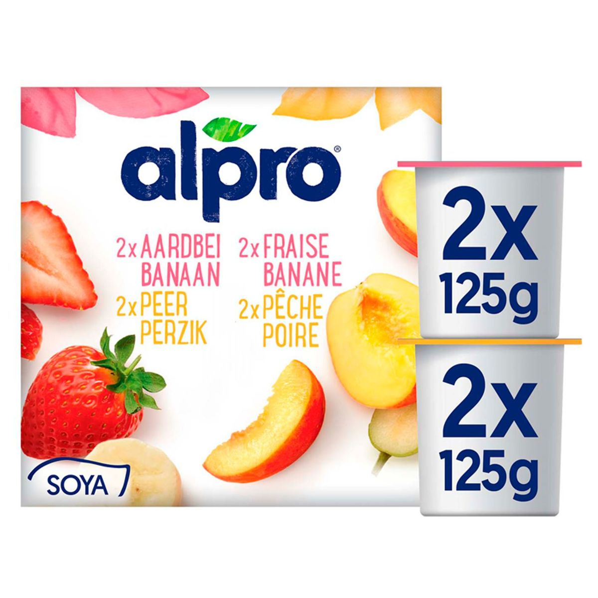Alpro Aardbei-Banaan Peer-Perzik Yoghurt Zonder Stukjes 4x125 g