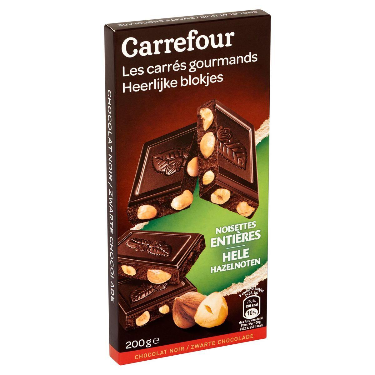 Carrefour les Carrés Gourmands Chocolat Noir Noisettes Entières 200 g