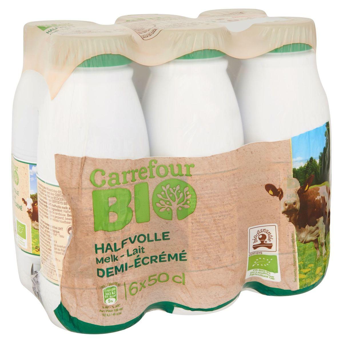 Carrefour Bio Lait Demi-Écrémé 6 x 50 cl