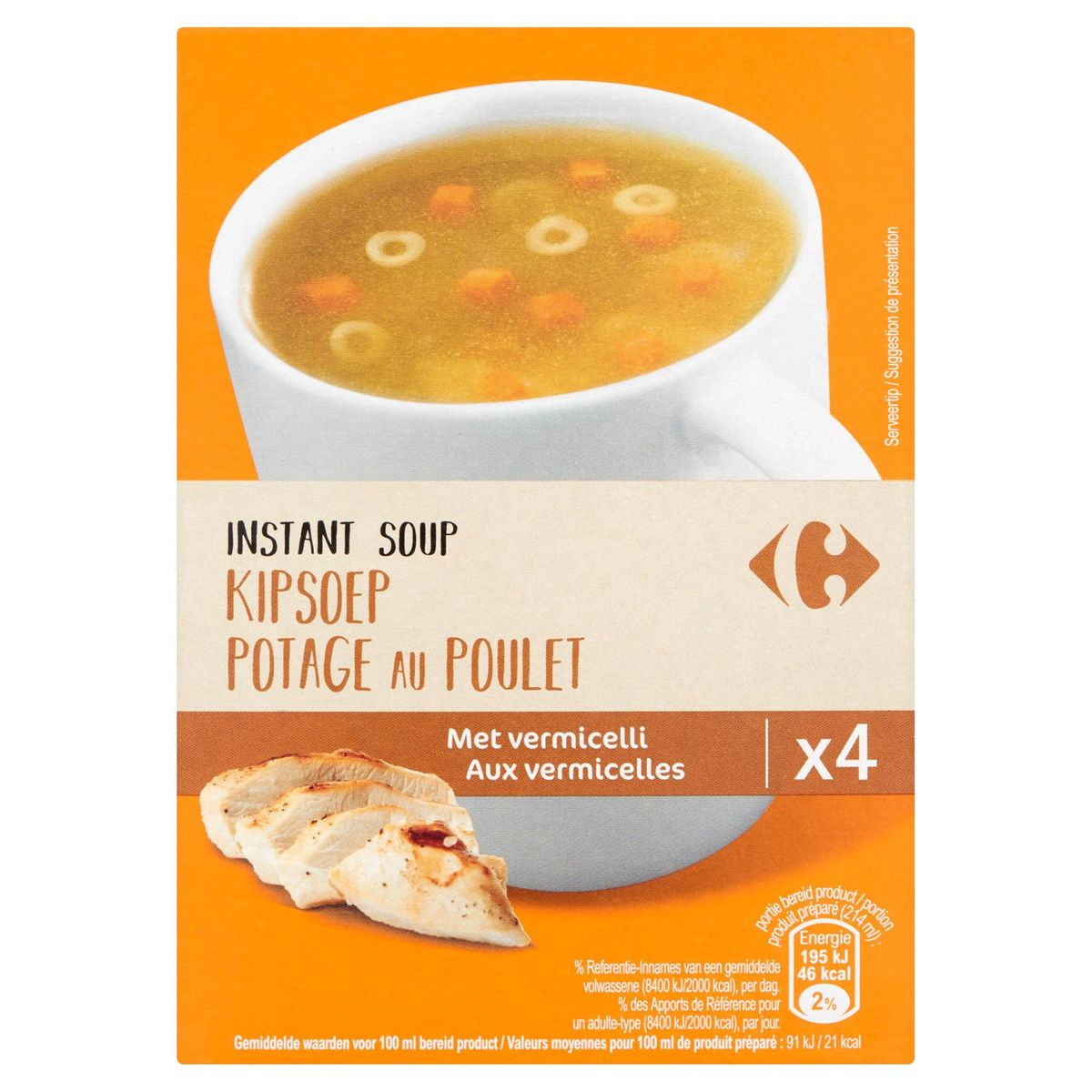 Carrefour Instant Soup Kipsoep met Vermicelli 4 x 14 g