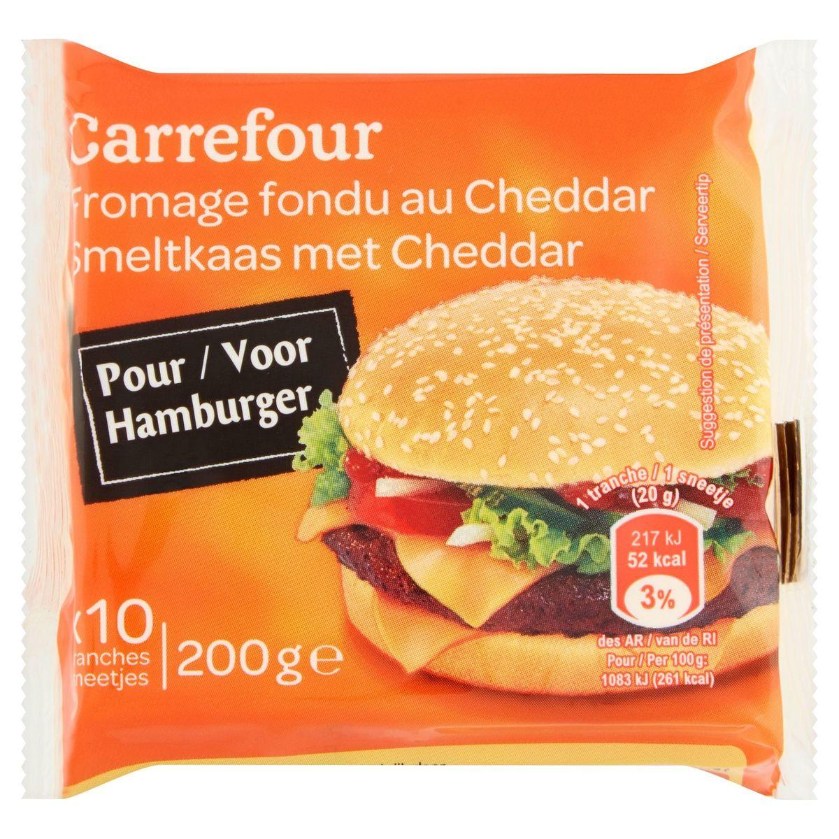 Carrefour Fromage Fondu au Cheddar 10 Tranches 200 g