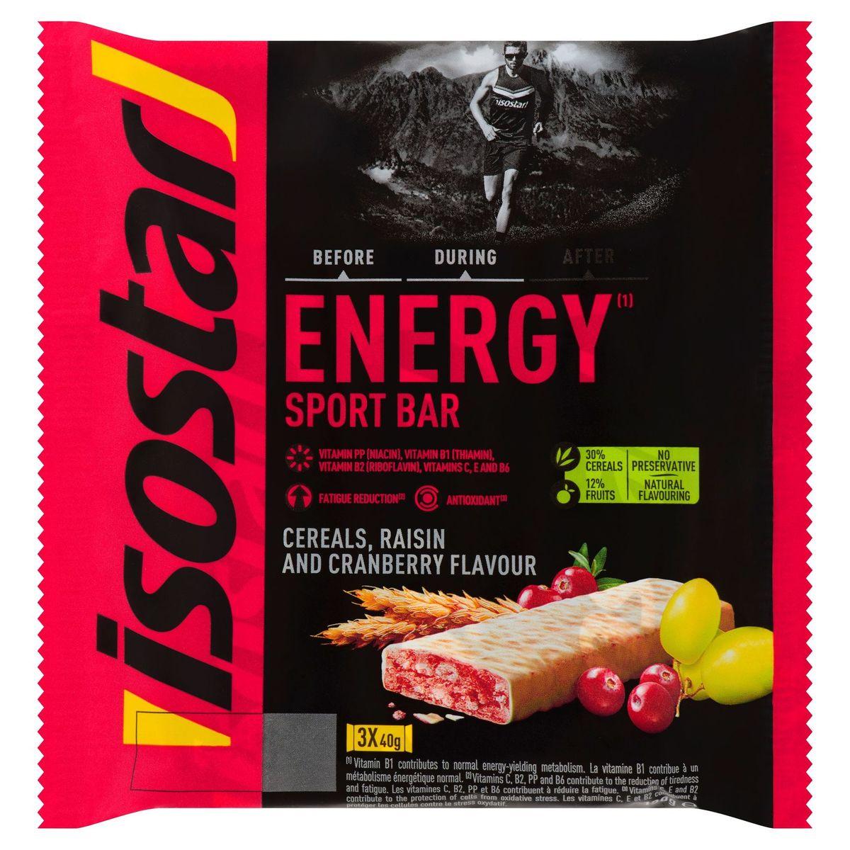 Isostar Energy Sport Bar Cereals, Raisin and Cranberry Flavour 3 x 40 g