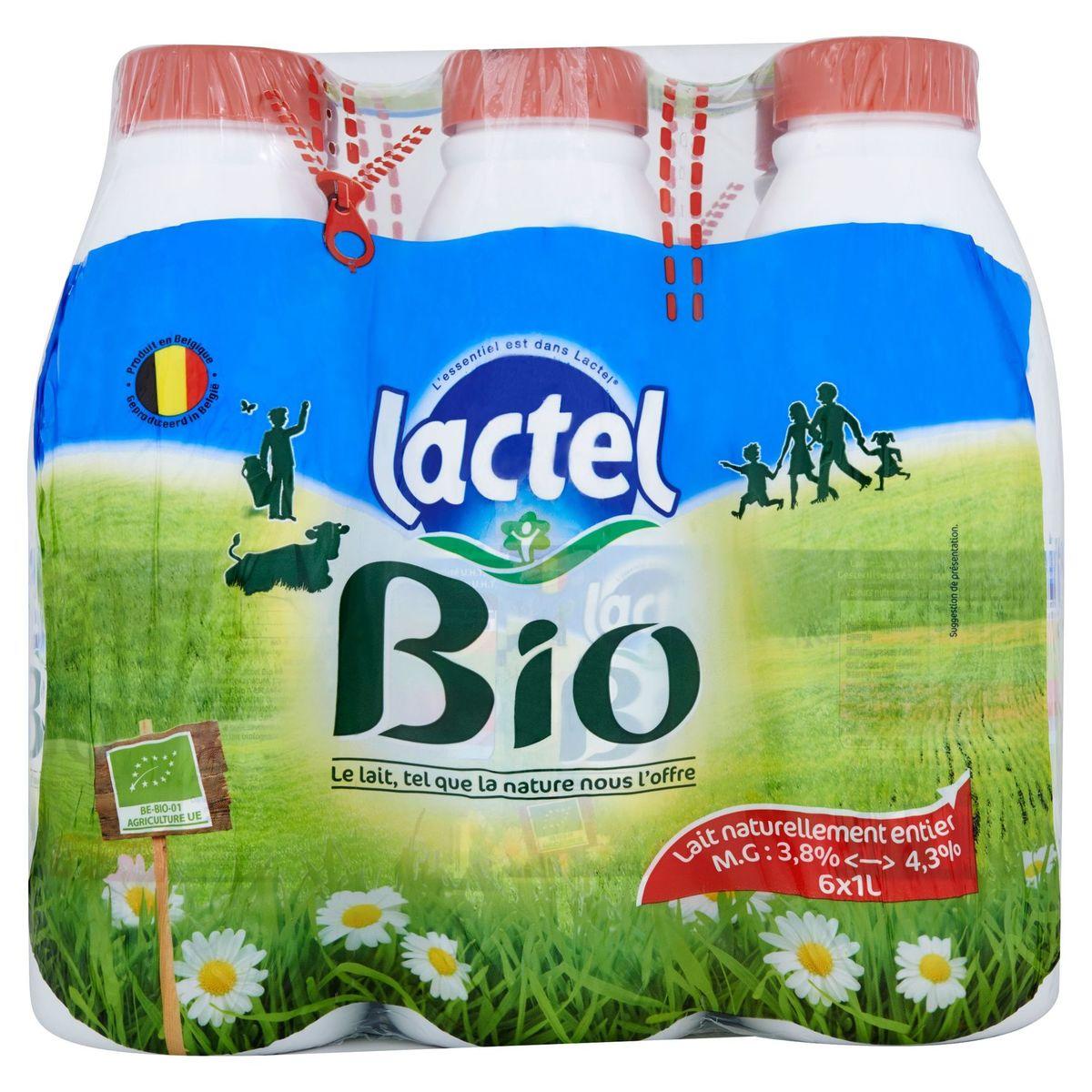 Lactel Bio Lait Naturellement Entier 6 x 1 L