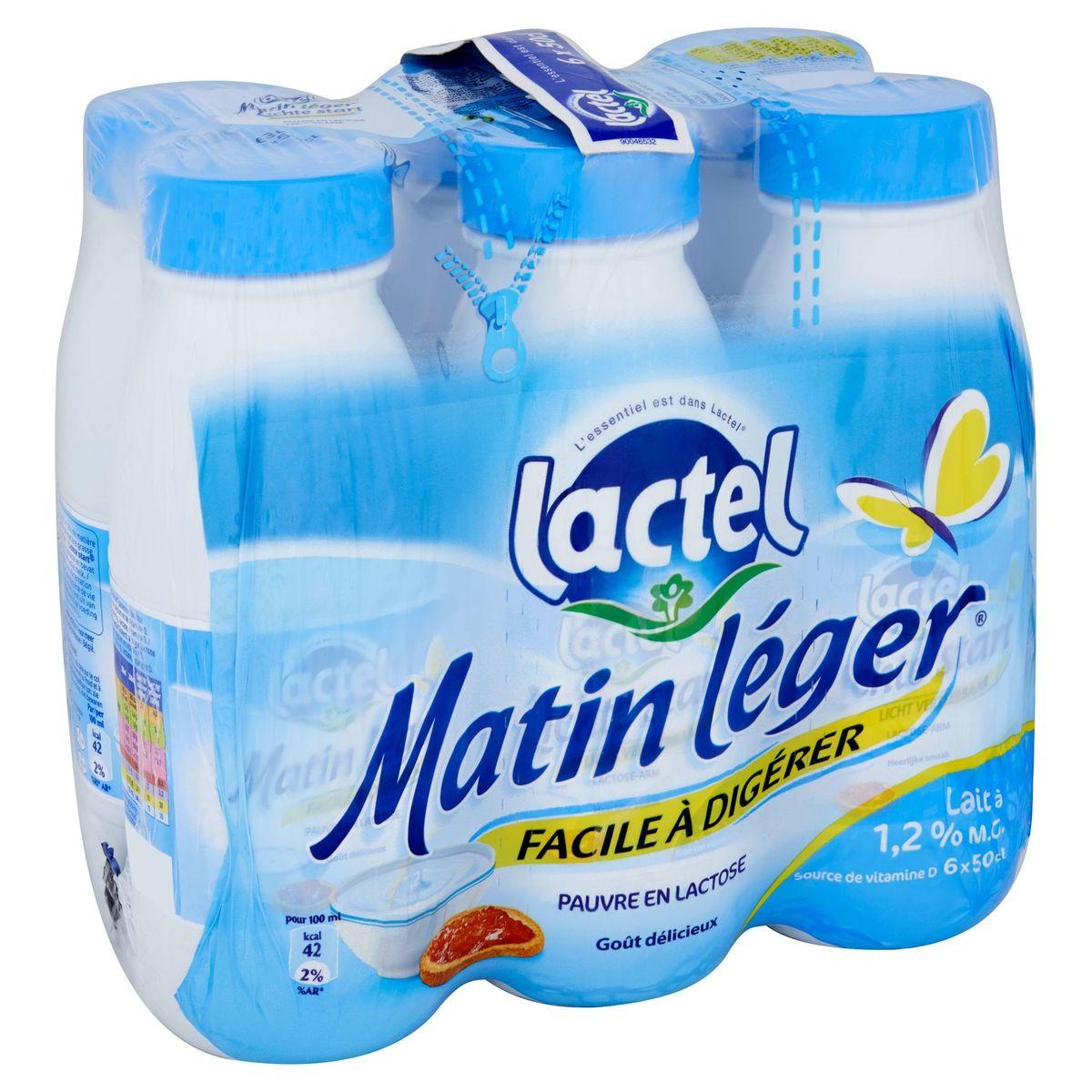 Lactel Matin Léger Lait à 1.2% M.G. 6 x 50 cl