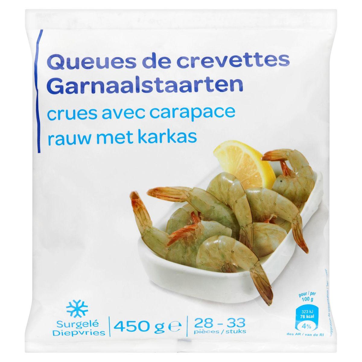 Queues de Crevettes Crues avec Carapace 450 g