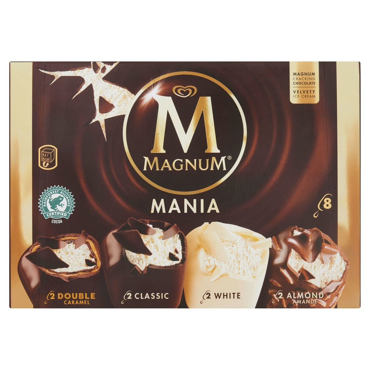 Magnum Ola Double Multipack Ijs Classic, Almond, White, Double Caramel (6 x 110) + (2 x 88) ml