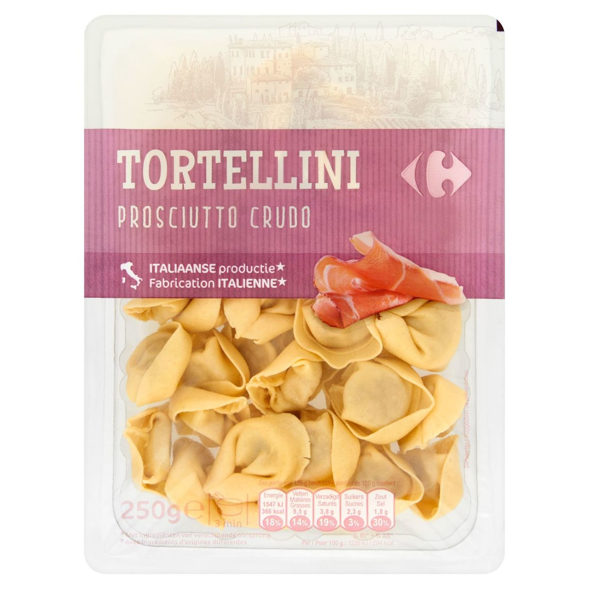 Carrefour Tortellini Prosciutto Crudo 250 g