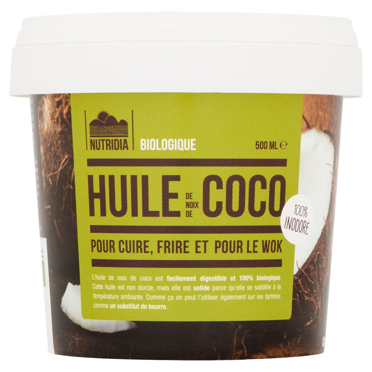 Nutridia Biologique Huile de Noix de Coco 500 ml