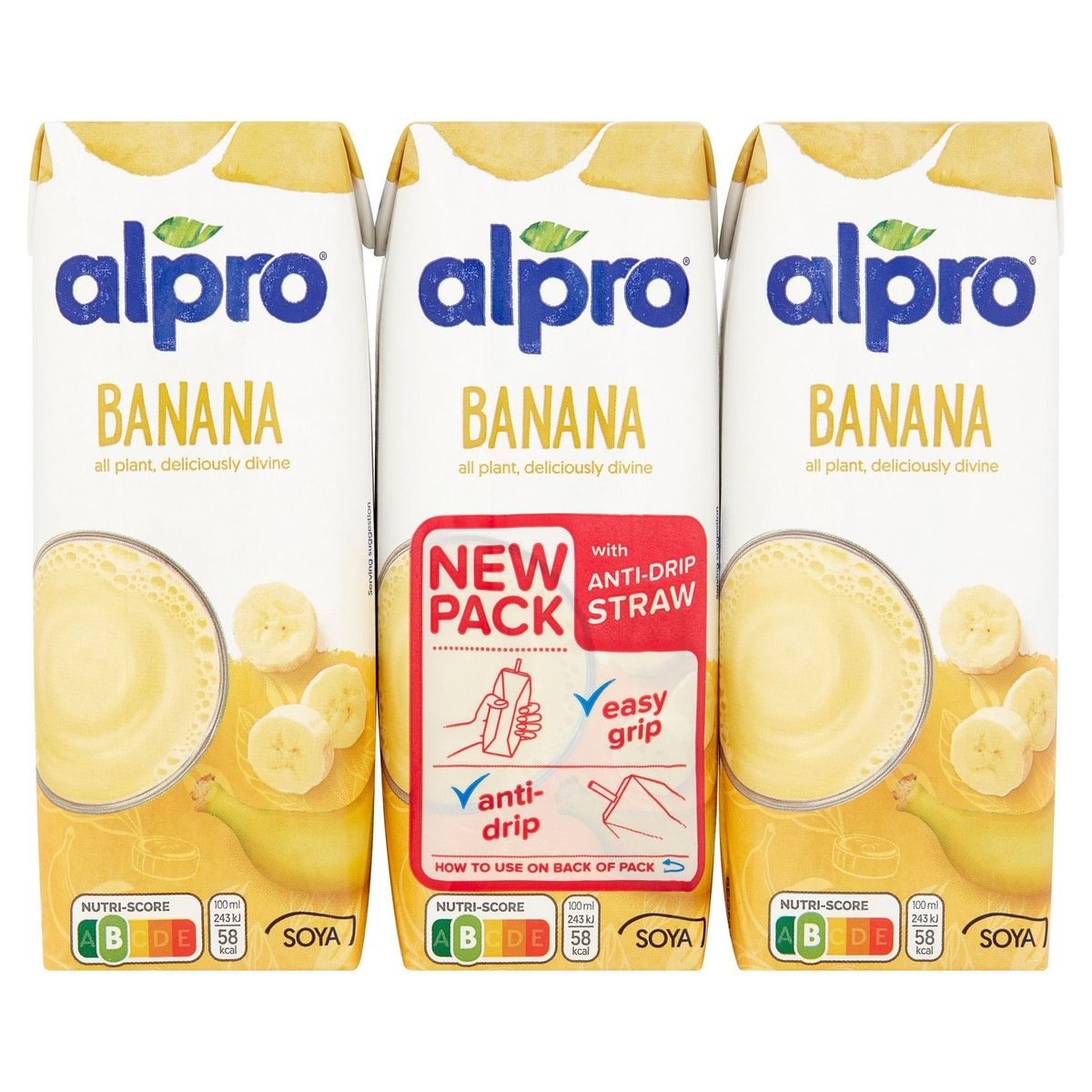 Alpro Banane Boisson à base de Soja 3 x 250 ml