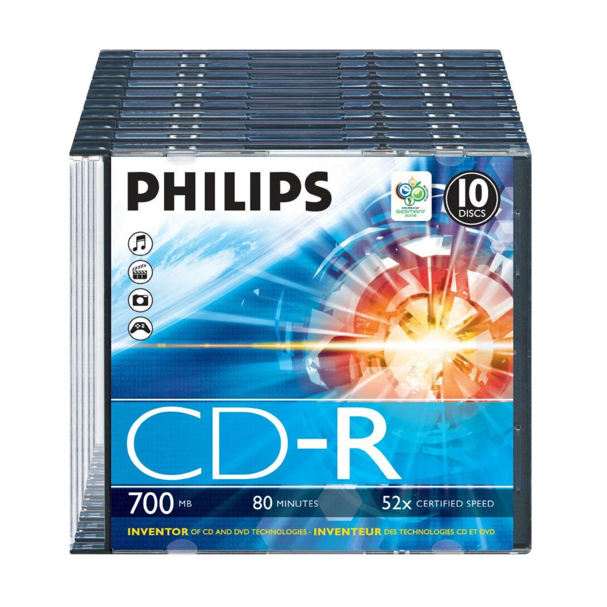 Philips - 10 Lege CD's - Transparant / Zwart