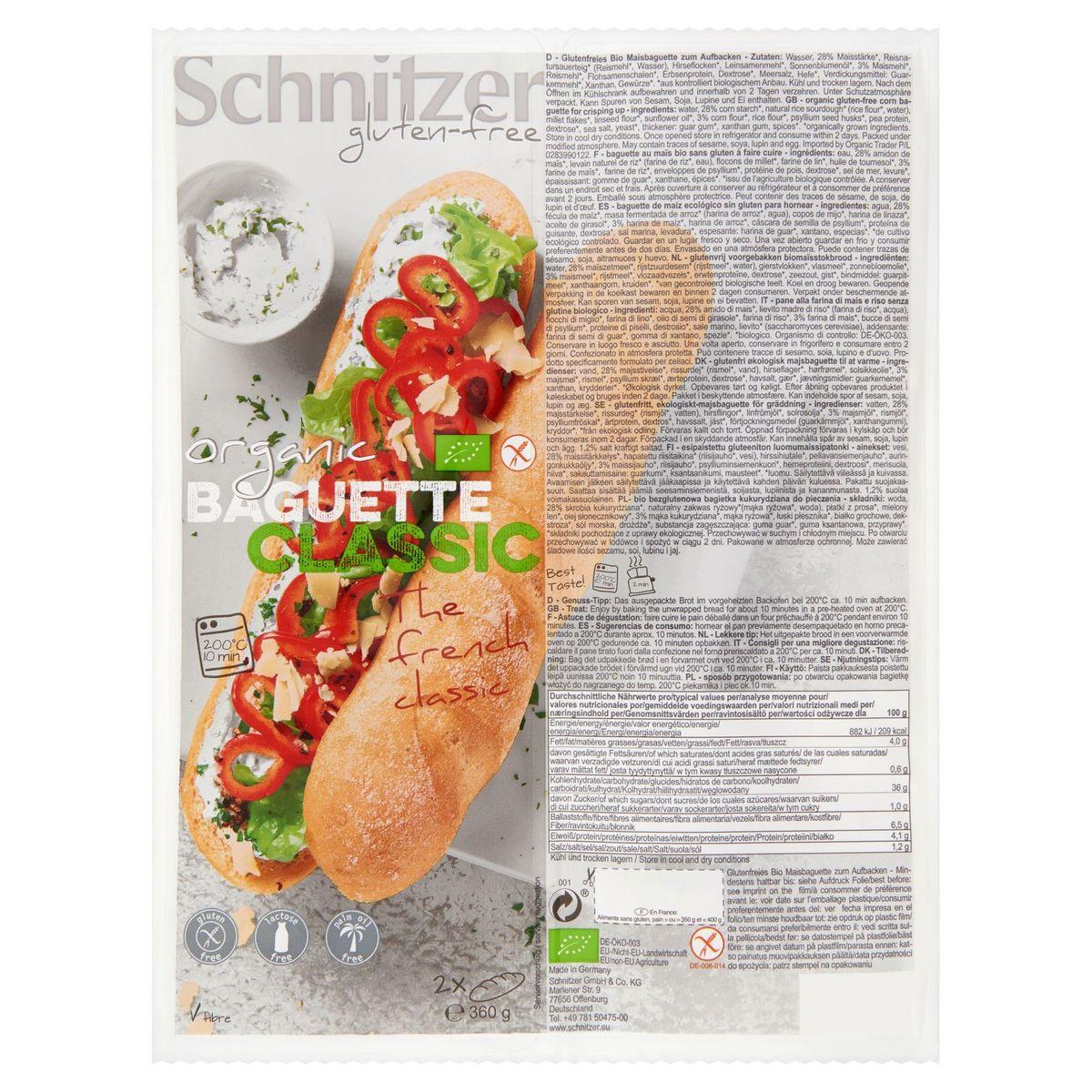 Schnitzer Gluten-Free Organic Baguette Classic 2 Pièces 360 g