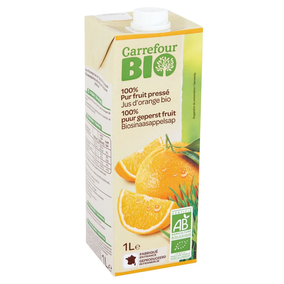 Carrefour Bio 100% Puur Geperst Fruit Biosinaasappelsap 1 L