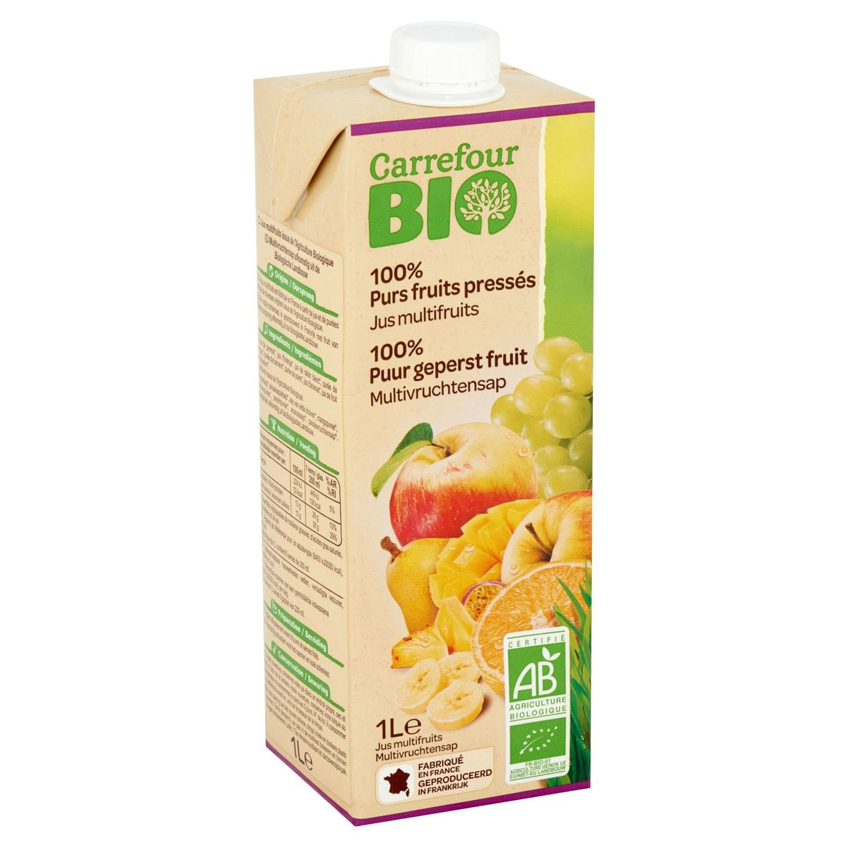 Carrefour Bio 100% Purs Fruits Pressés Jus Multifruits 1 L