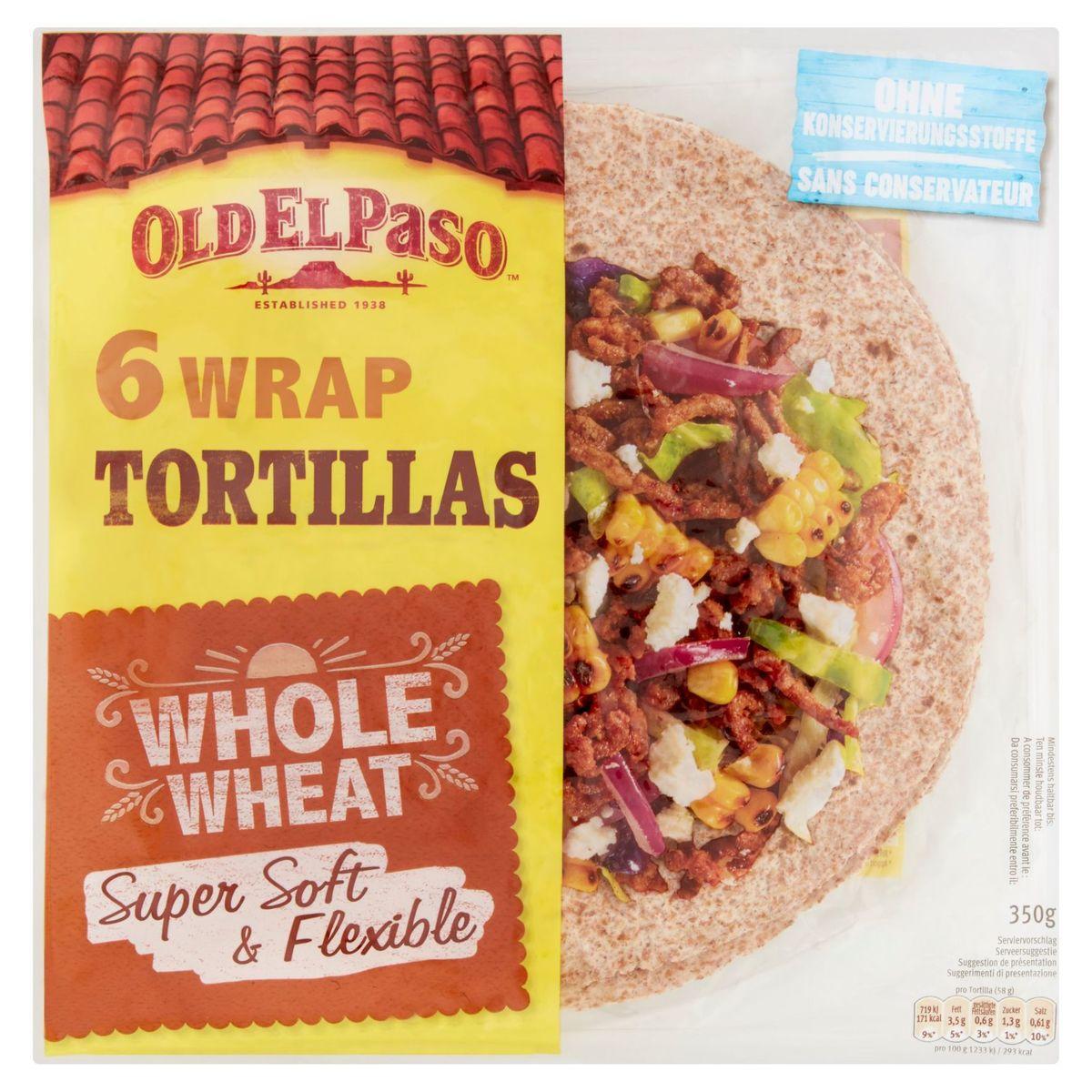 Old El Paso 6 Wrap Tortillas Whole Wheat 350 g