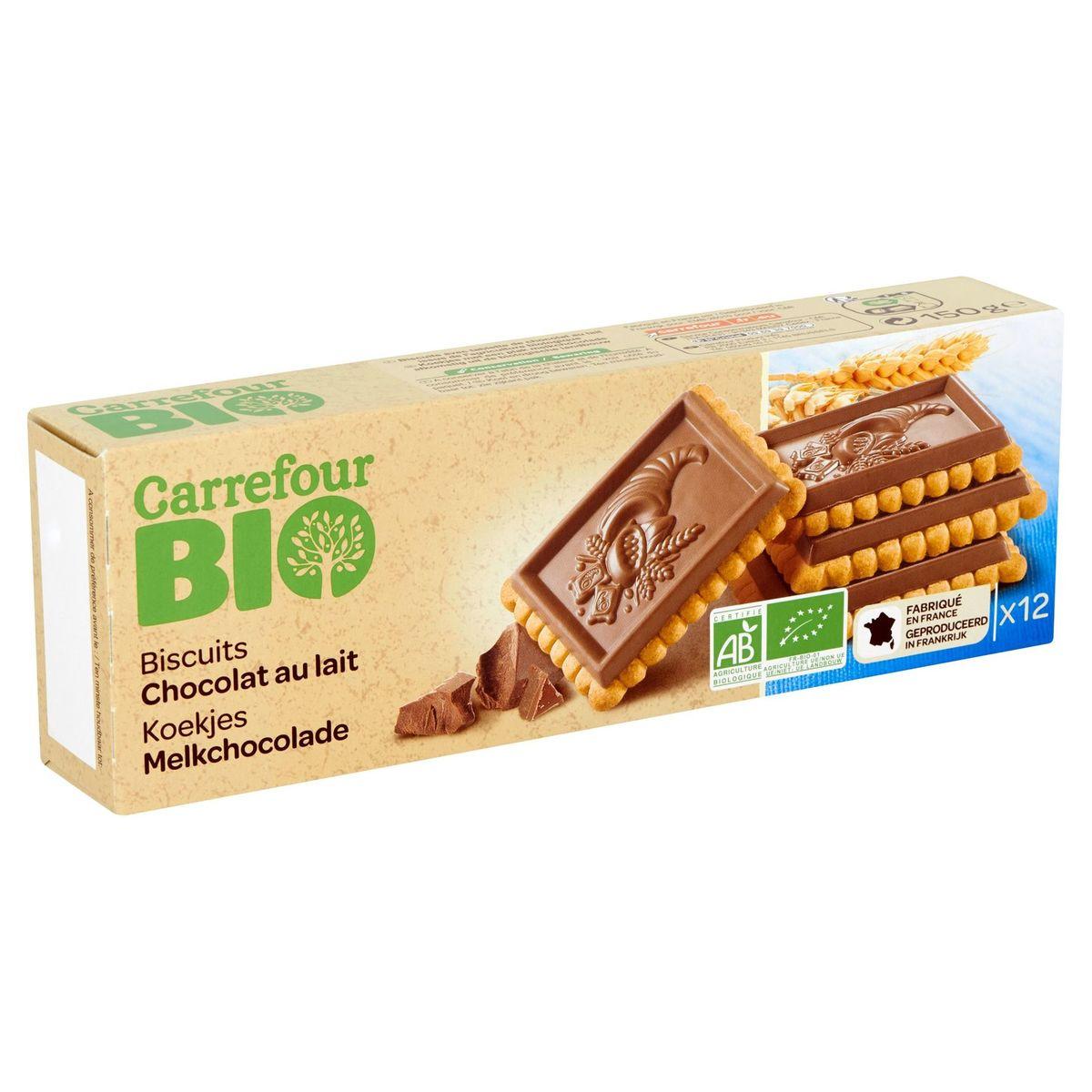 Carrefour Bio Koekjes Melkchocolade 12 Stuks 150 g