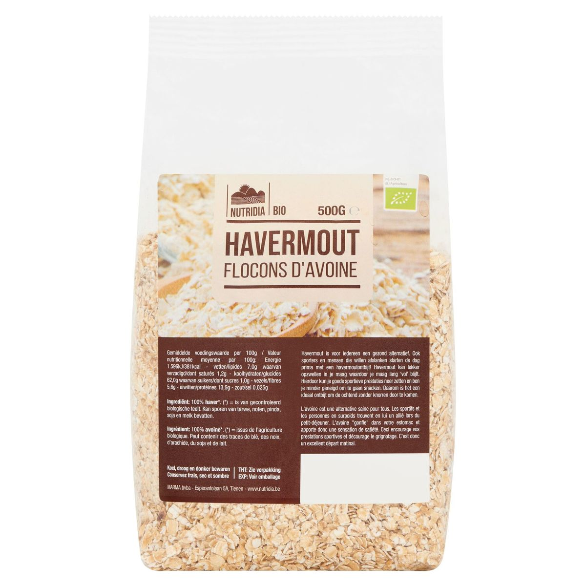 Nutridia Bio Flocons d'Avoine 500 g
