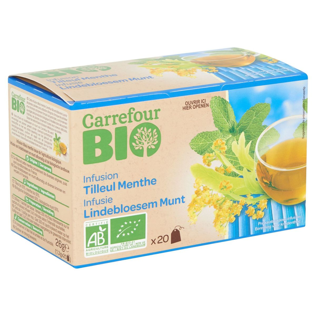 Carrefour Bio Infusion Tilleul Menthe Sachets 20 x 1.3 g