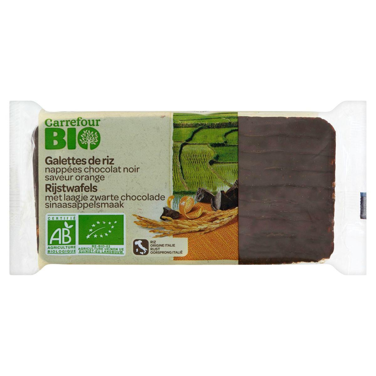 Carrefour Bio Galettes de Riz Nappées Chocolat Noir Saveur Orange 90 g