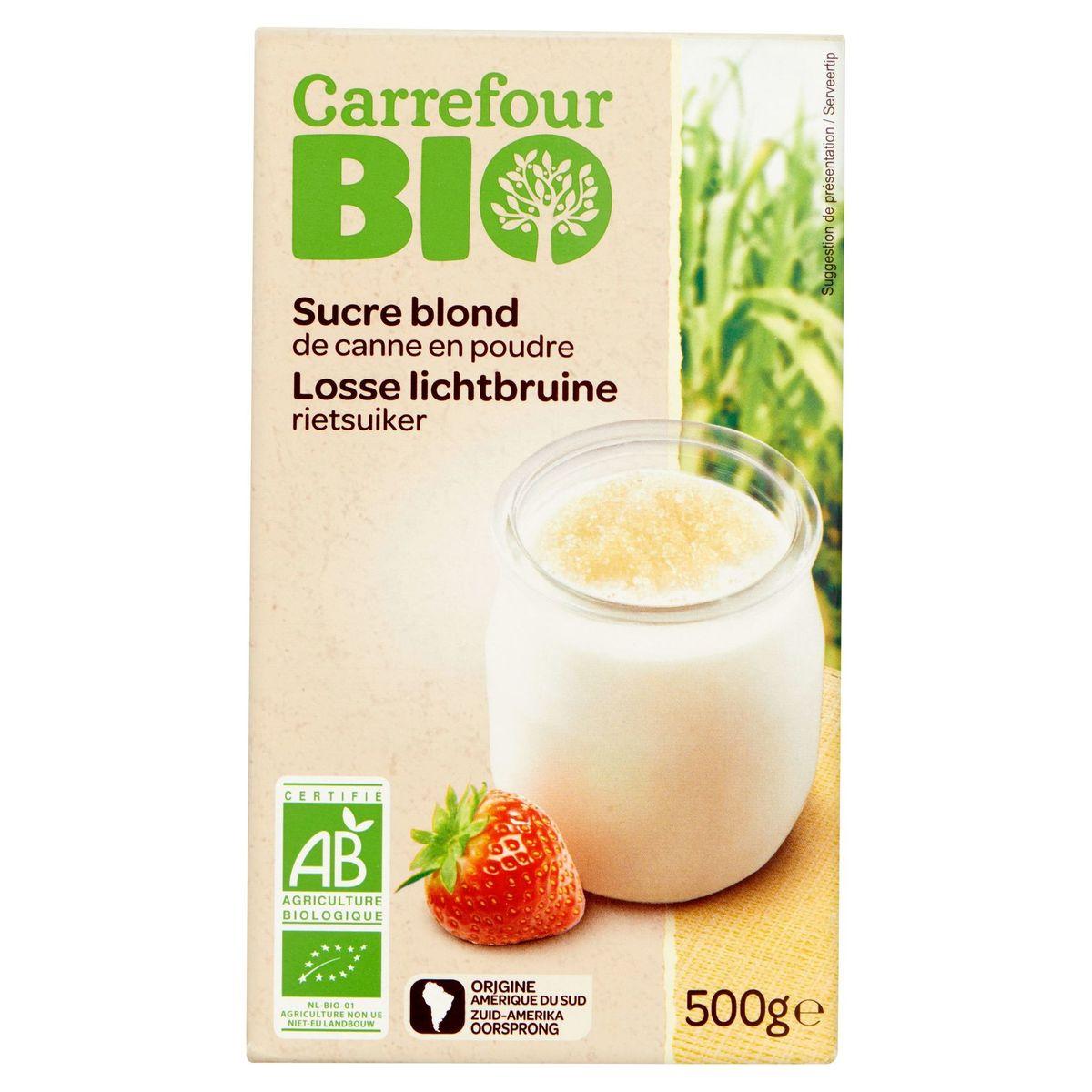 Carrefour Bio Sucre Blond de Canne en Poudre 500 g