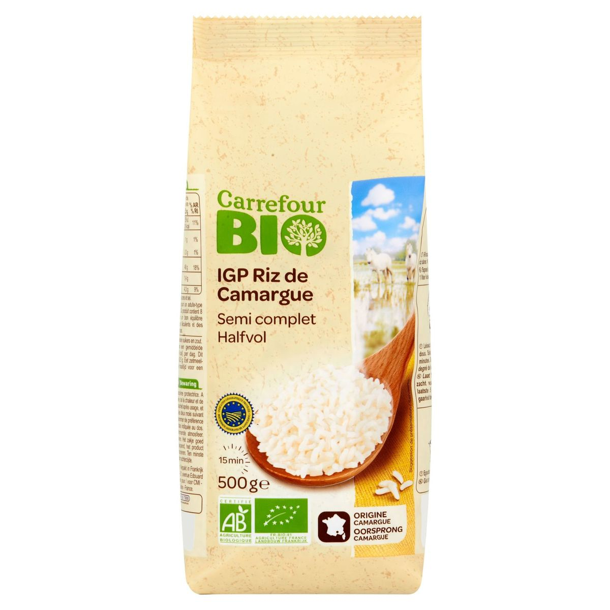 Carrefour Bio IGP Riz de Camargue Semi Complet 500 g