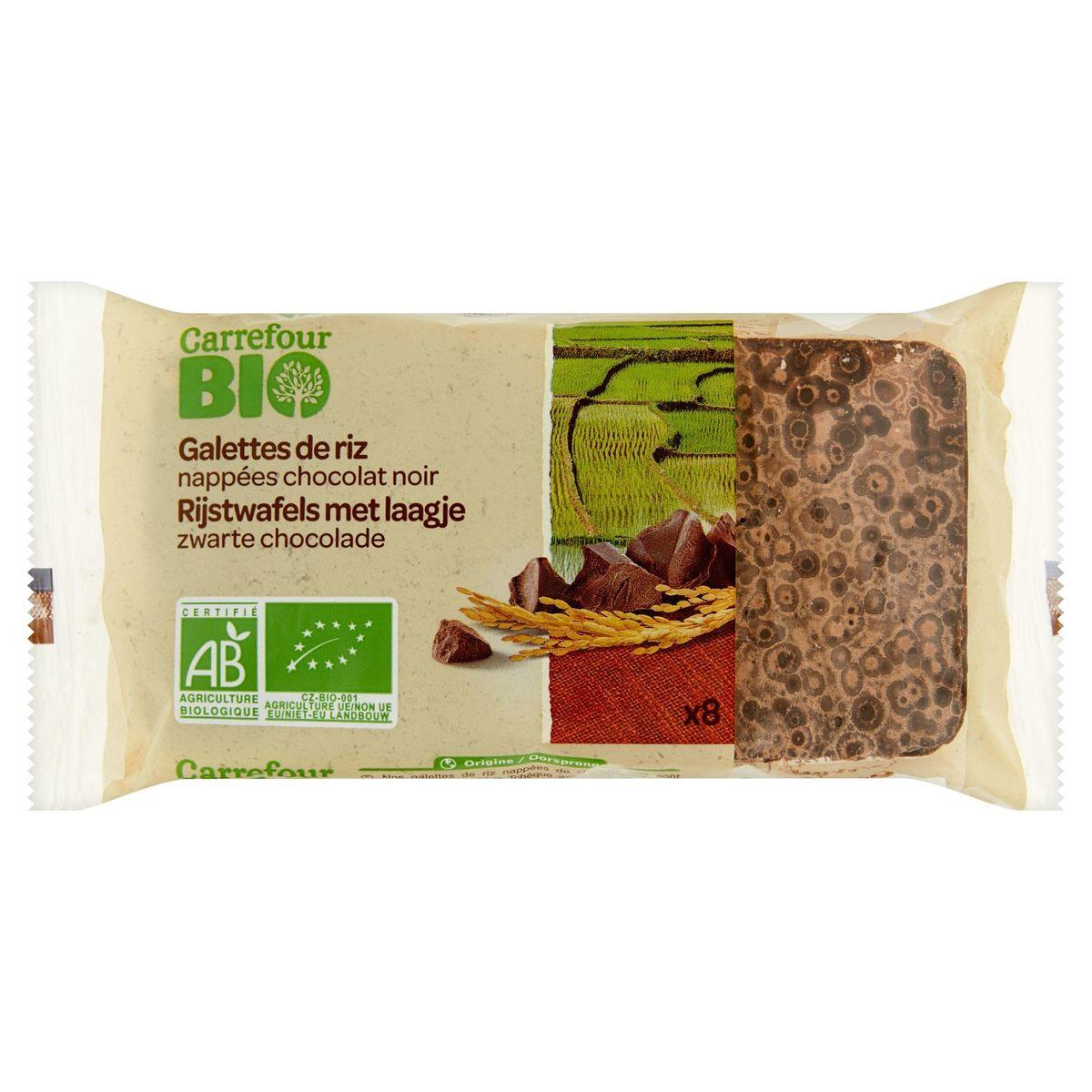 Carrefour Bio Galettes de Riz Nappées Chocolat Noir 8 Pièces 100 g